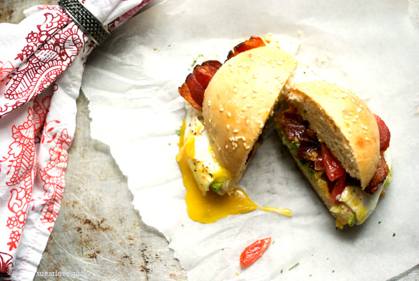 BLT with Sunny Side Up Egg Breakfast Panino