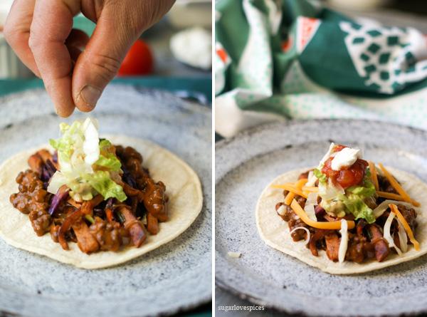 Seitan and Red Cabbage Tacos with Corn Avocado Guacamole