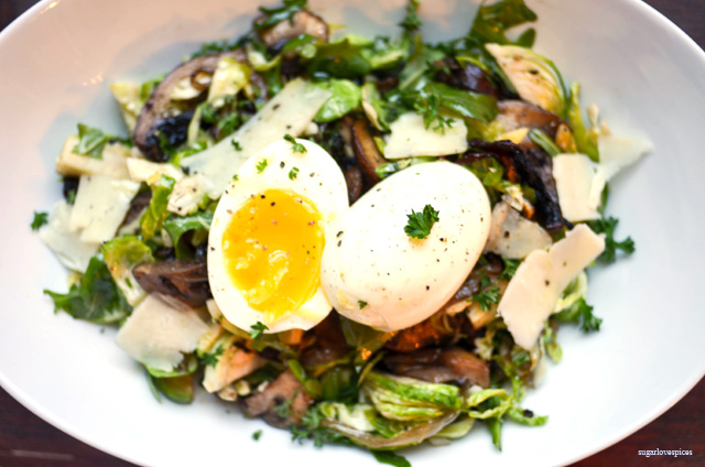 Raw Brussell Sprout Salad with Sauteed Mushrooms and Soft boiled Egg