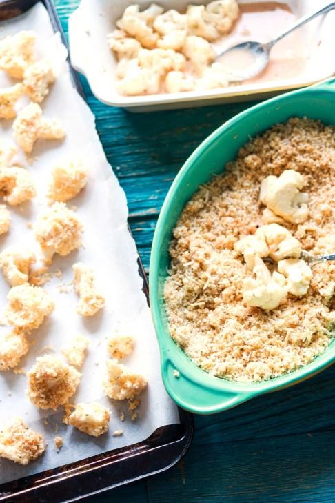 panko and asiago crusted popcorn cauliflower-prep-dredging the cauliflower
