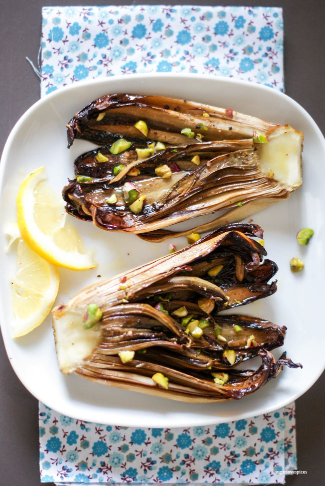 Grilled Radicchio with lemon and pistachios - SugarLoveSpices