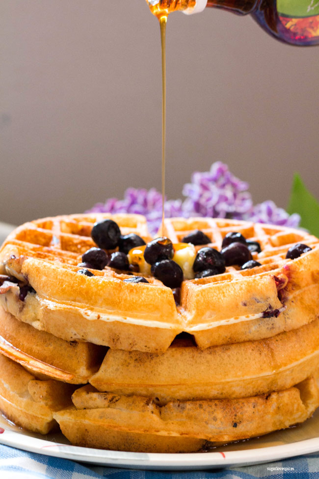 Lemon Blueberry Buttermilk Waffles