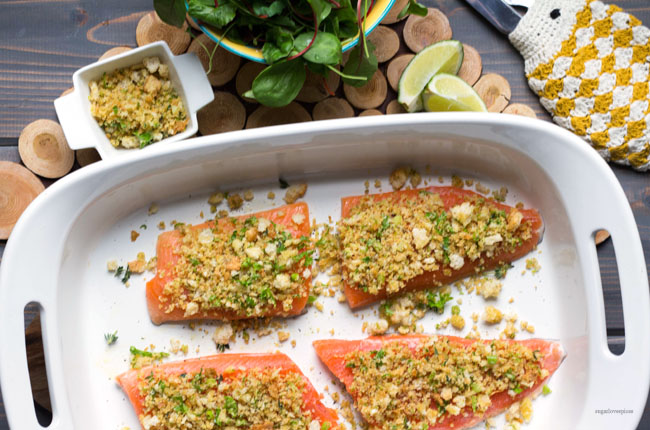 Citrus crusted Arctic Char with mixed Greens