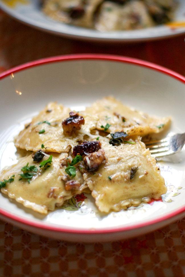 Smoked Cheese Ravioli with brown butter sage walnut sauce