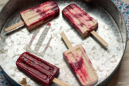 Honey-Vanilla Berry Frozen Yogurt Popsicles