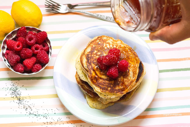 Lemon Ricotta Poppy Seed Pancakes - SugarLoveSpices