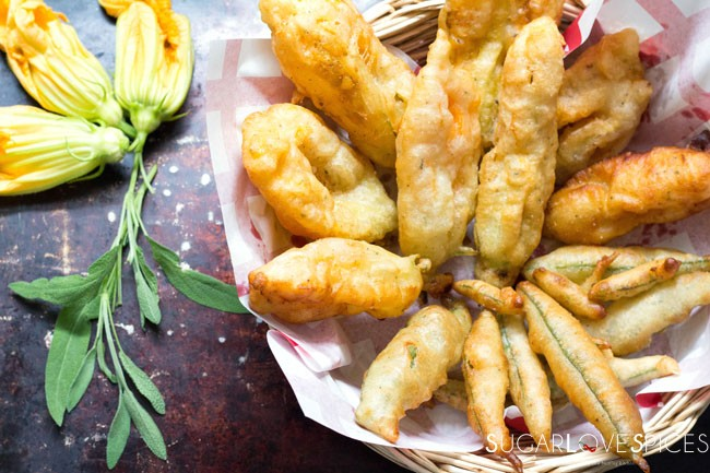 Deep fried Squash Blossoms and Sage Leaves