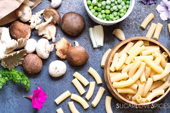 Rigatoni Funghi e Piselli