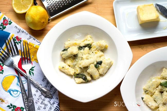 Basil Ricotta Gnudi in lemon butter sauce