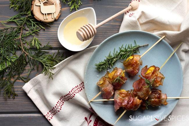roasted chestnut pancetta skewers