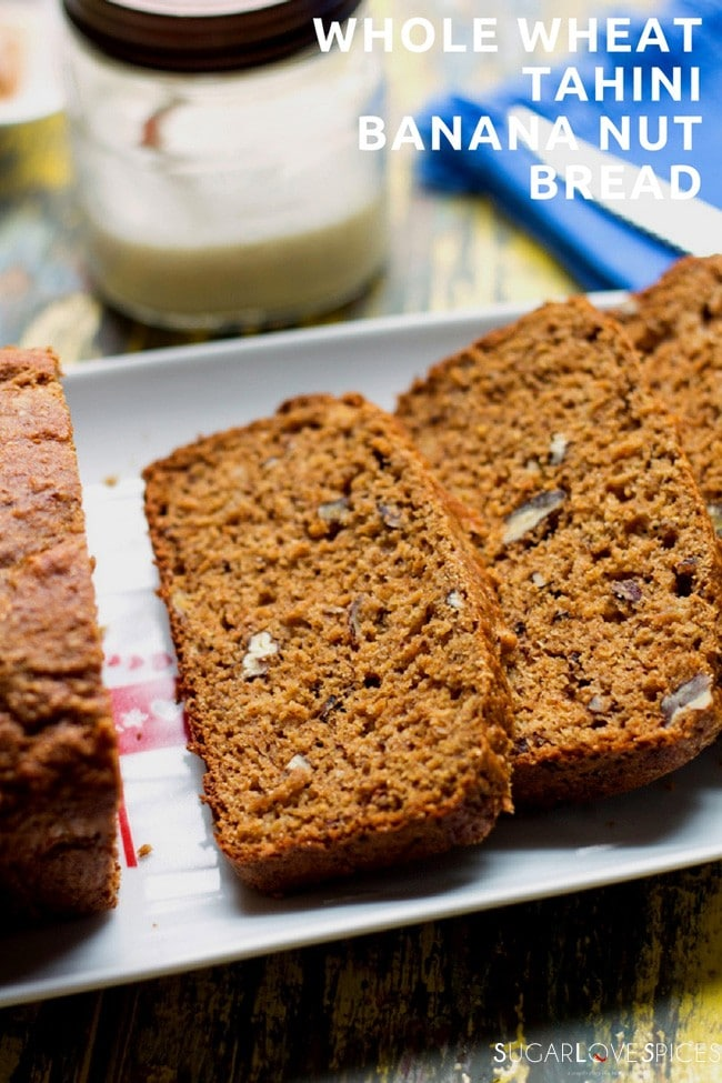 whole wheat tahini banana nut bread