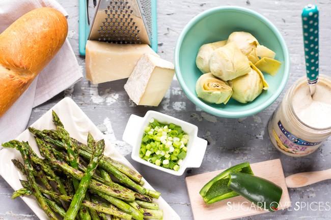Caesar Asparagus Artichoke Dip with grilled crostini