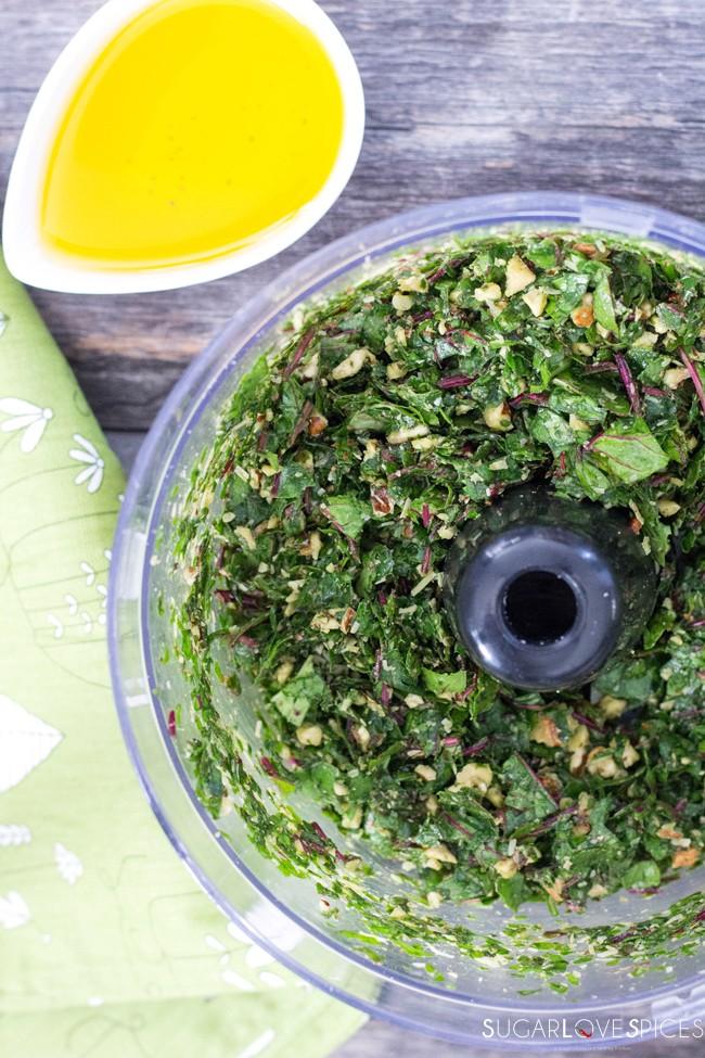No-garlic Beet Green Walnut Pesto