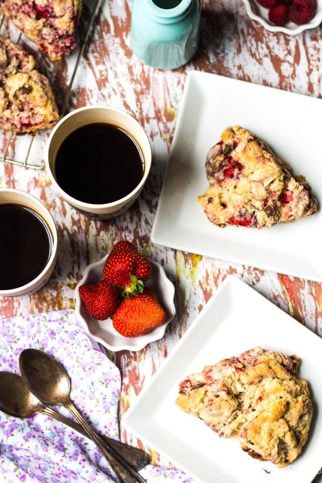 Triple berry dark chocolate scones