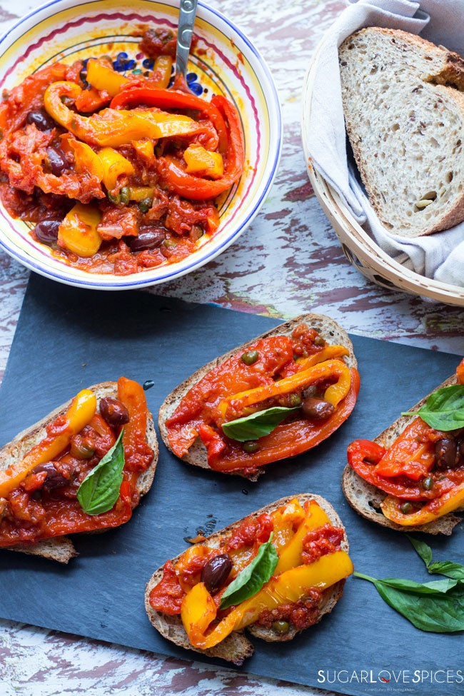 Peperonata (Stewed Savory Peppers)