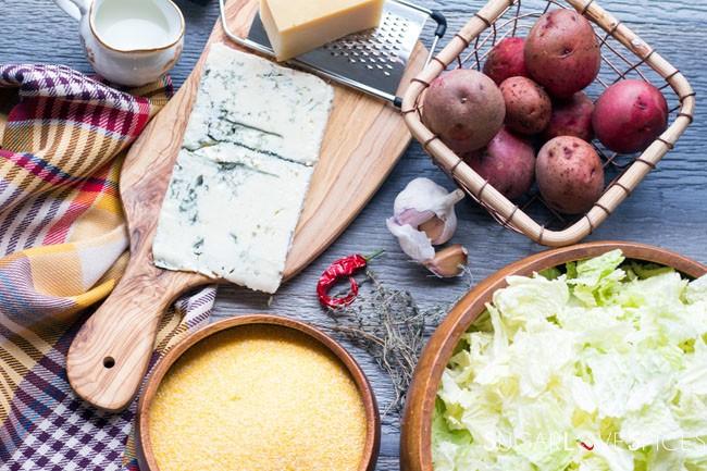 Polenta Torta with Gorgonzola and Savoy Cabbage