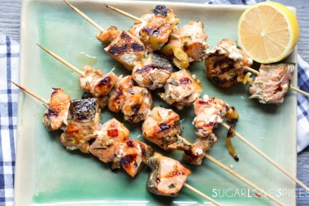 Lemongrass Ginger Salmon Skewers