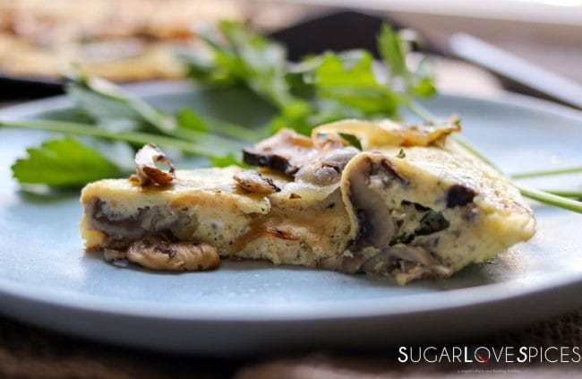 Mushromm Frittata with Truffle cheese-closeup