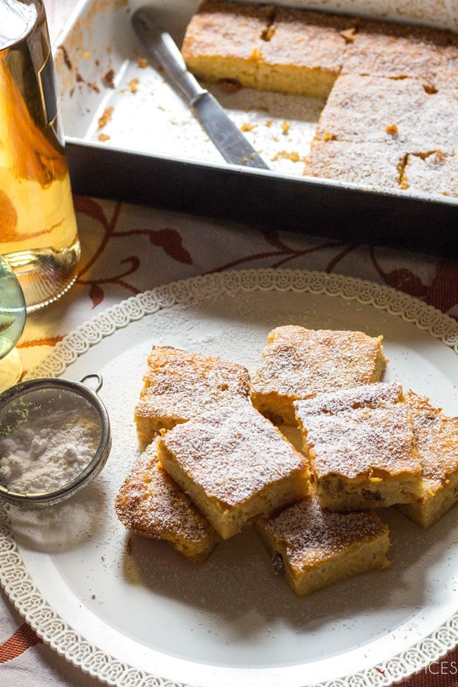 Torta di Riso di Grazianella (Italian Rice Cake)-cut into squares