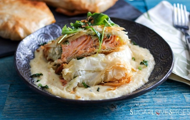 Arctic Char in phyllo pastry with a potato and rutabaga puree-closeup