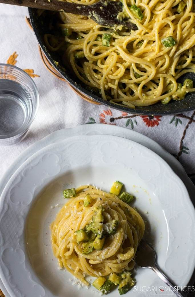 Vegetarian Carbonara with Zucchini-from the top