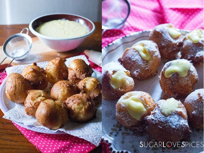 Bignè di San Giuseppe Tradizionali Fritti-St. Joseph's Day Traditionl Deep Fried Cream Puffs with lemon custard