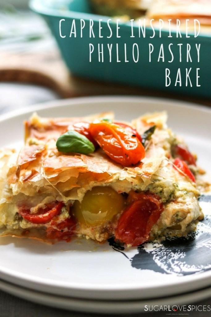 Caprese inspired phyllo pastry bake