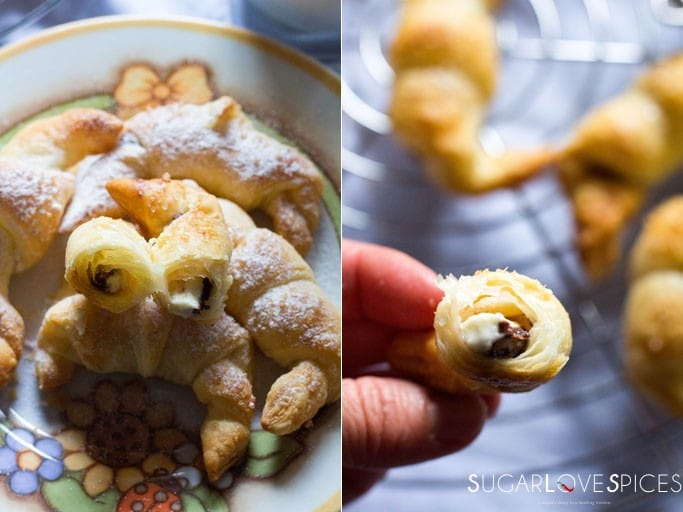 Hazelnut and Vanilla Puff Pastry Mini Croissants-crispy puff pastry and oozing vanilla chocolate spread