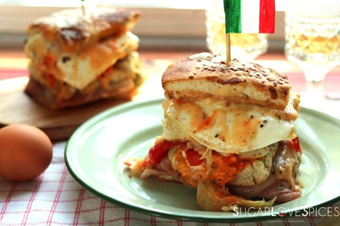 Italian Focaccia Club Sandwich