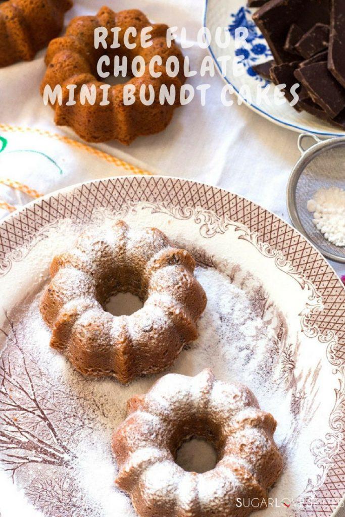 Rice flour chocolate mini bundt cakes, delicious gluten free mini cakes qith chunks of dark chocolate