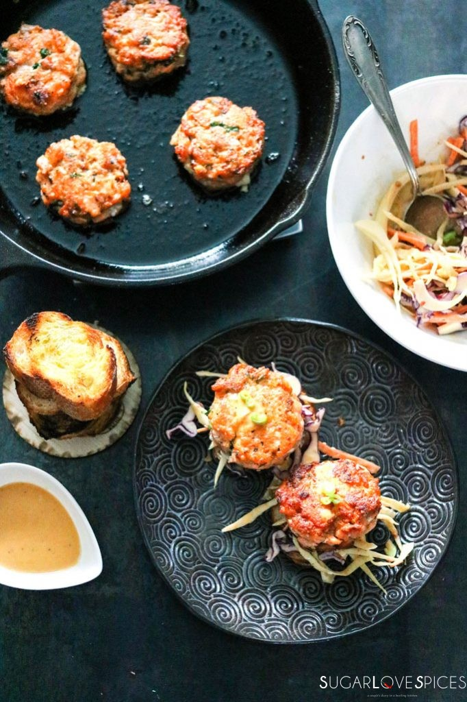 Asian-inspired Arctic Char cake sliders
