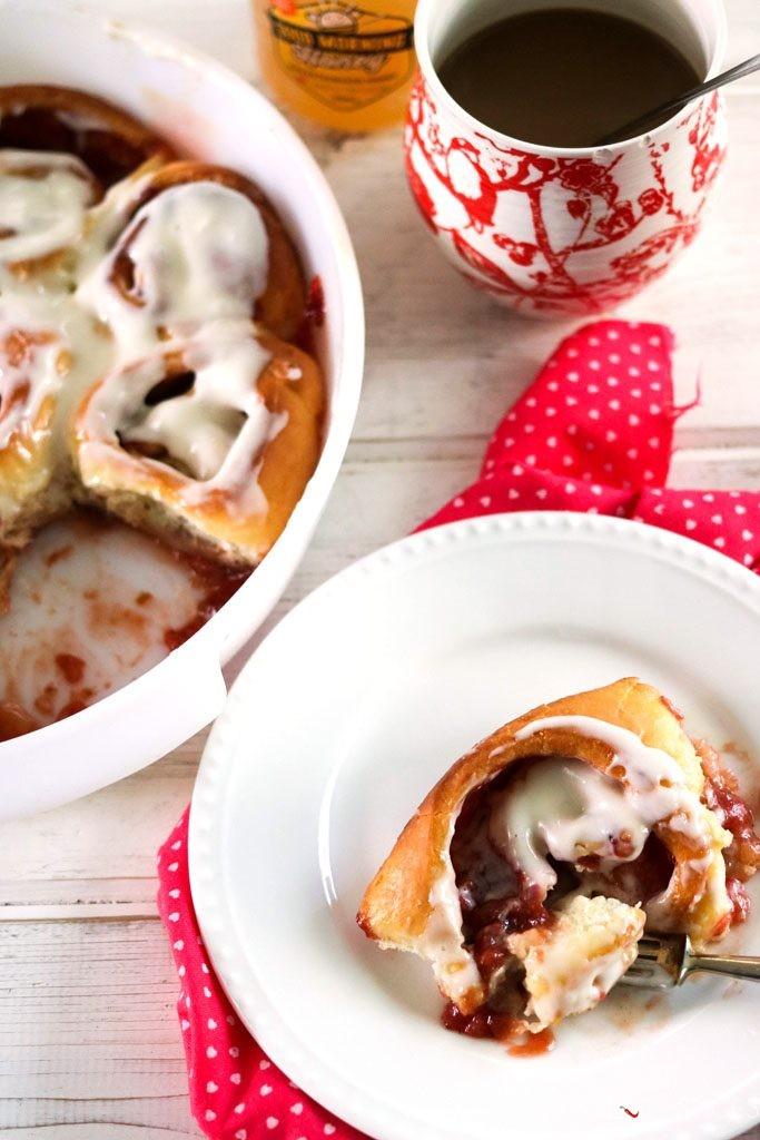 Strawberry Rhubarb Cinnamon Brioche Rolls