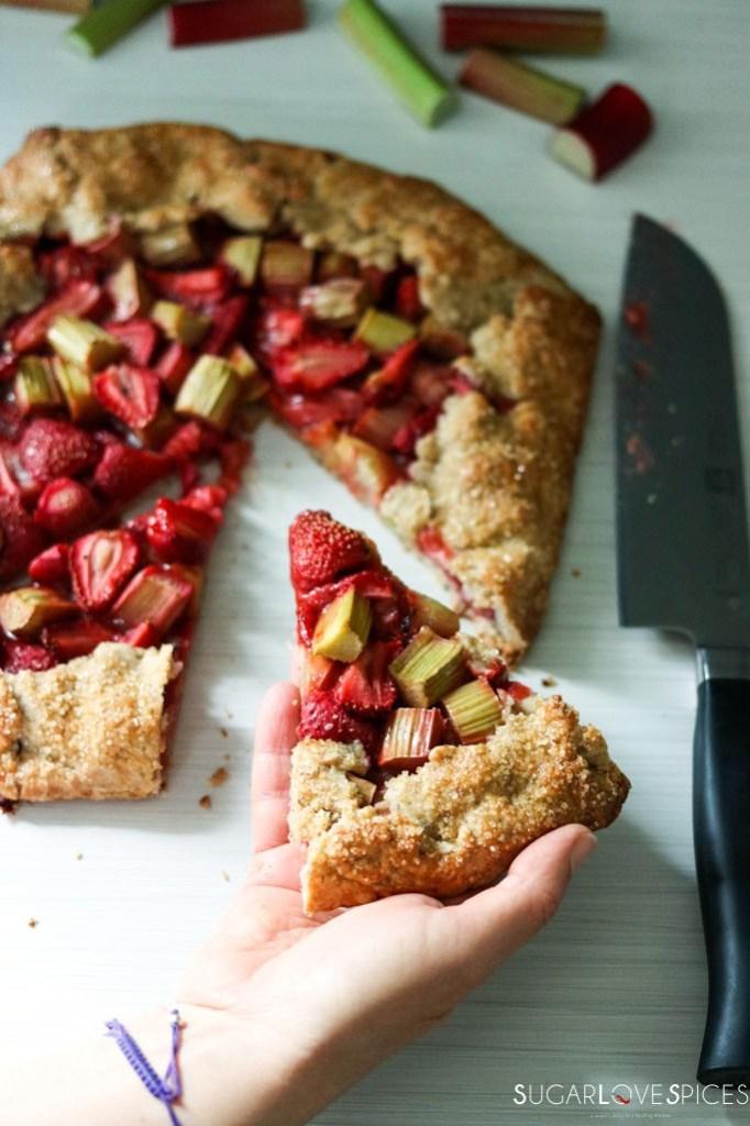 Strawberry Rhubarb Galette with Buckwheat Crust