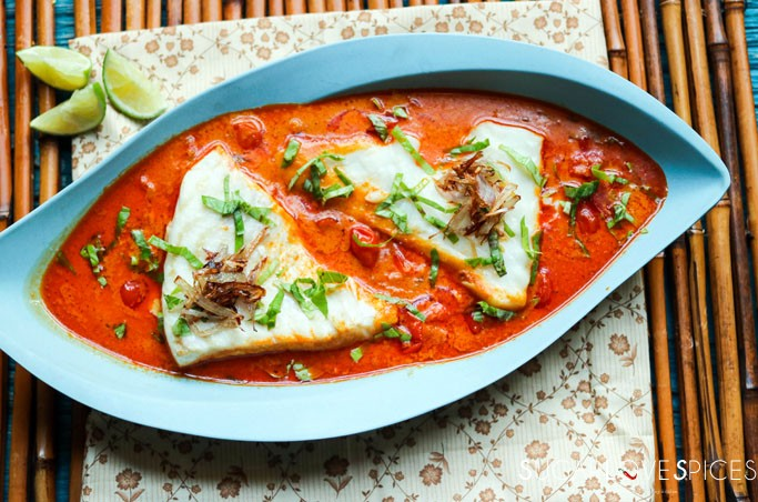 tomato-coconut curry steamed haddock