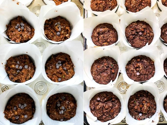 Double Chocolate Zucchini Banana Rye Muffins