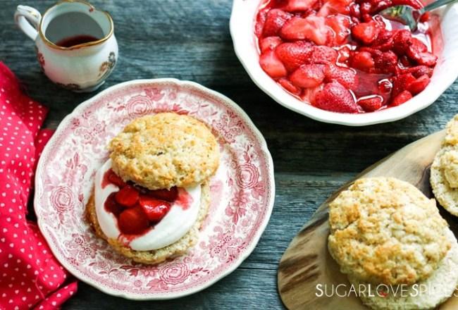 Roasted strawberry shortcakes