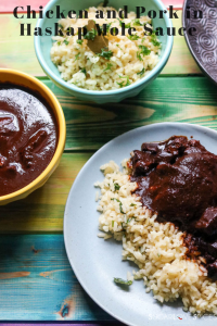 Chicken and Pork in haskap mole sauce
