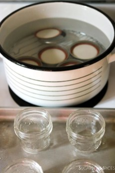 then, jars in the oven, lids in hot water