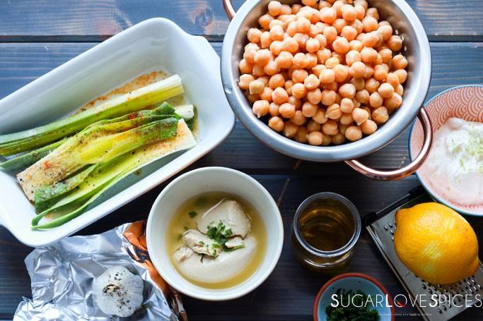 Charred leek and roasted garlic hummus