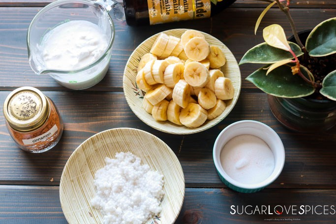 Cambodian Tapioca Banana Pudding-ingredients on the table with plant