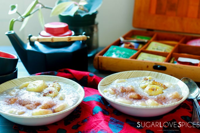 Cambodian Tapioca Banana Pudding-table set view from the front