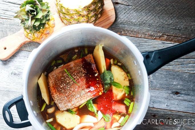 Family Style Loin Roast Dinner-roast in the pot