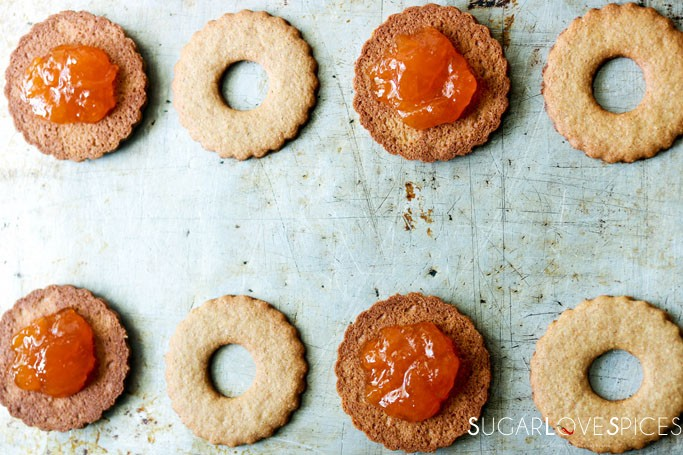 Italian Occhi di Bue with Spelt flour-shapes cut and jam