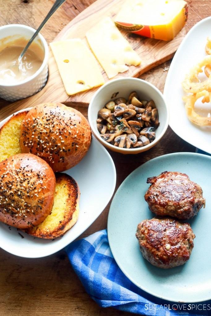 Cheesy Mushroom Lamb Burger-patties and buns