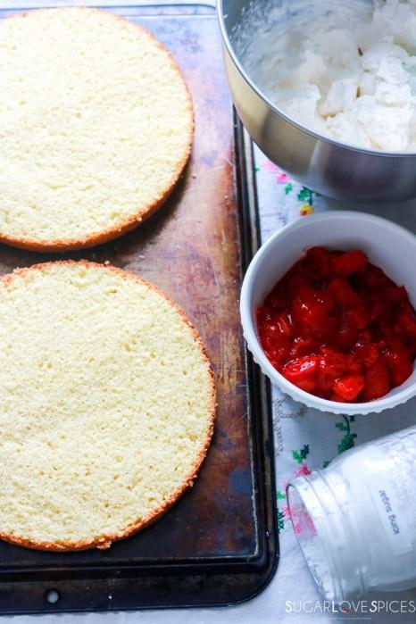 Strawberry Rhubabrb Victoria Sponge Cake-cut-cake