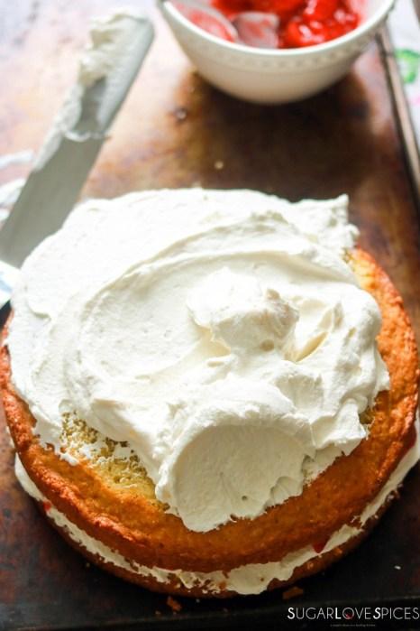Strawberry Rhubabrb Victoria Sponge Cake-top-layer