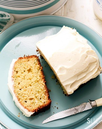 Zucchini Lemon Loaf with Lemon Cream Cheese Icing-one slice cut