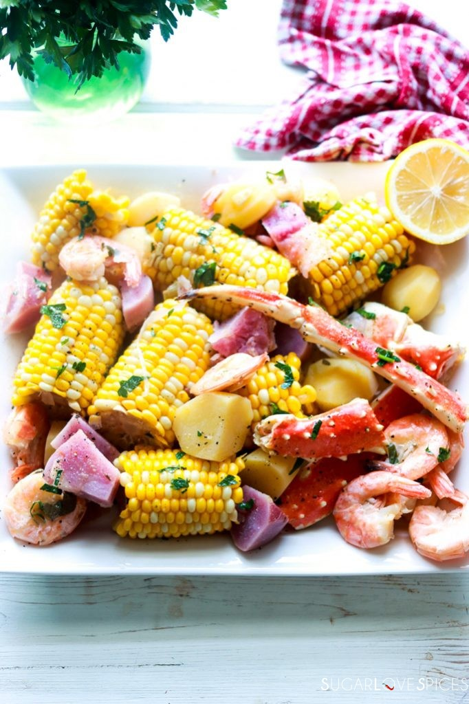 Crab and Shrimp Boil-in the serving dish