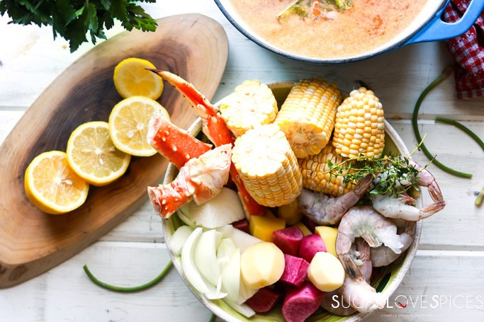 Crab and Shrimp Boil-ingredients on the board