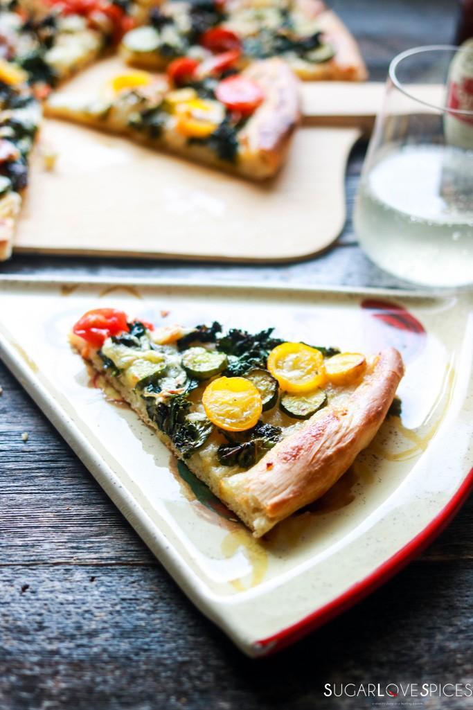 Harvest Vegetable Pizza with Garlic Aioli Sauce